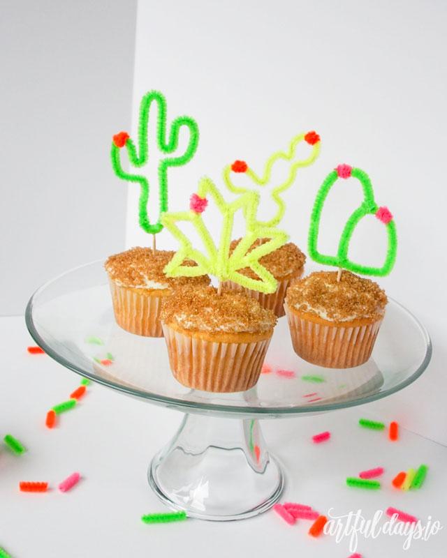 Diy cupcake cacti toppers