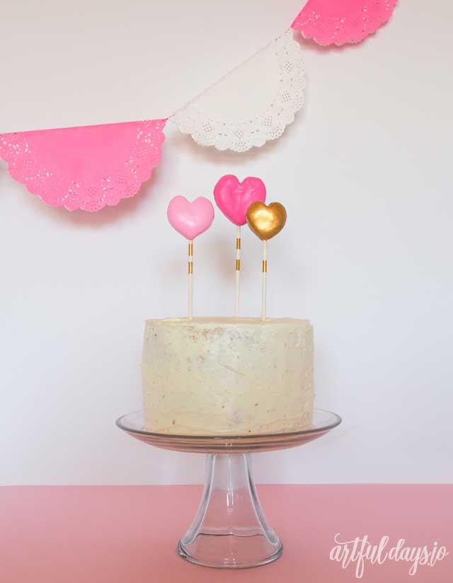 Valentine heart cake topper