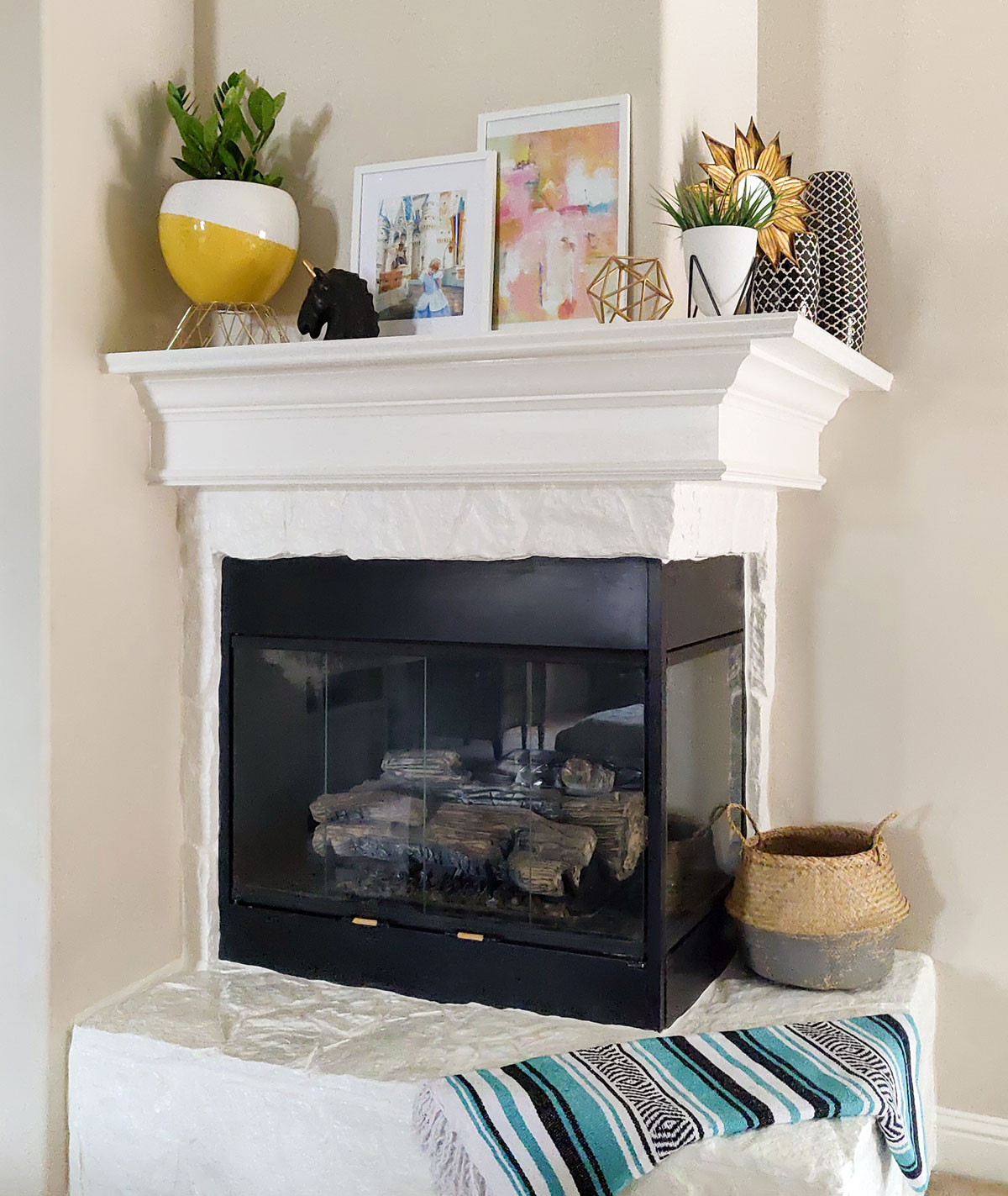 Artfuldays white fireplace decor