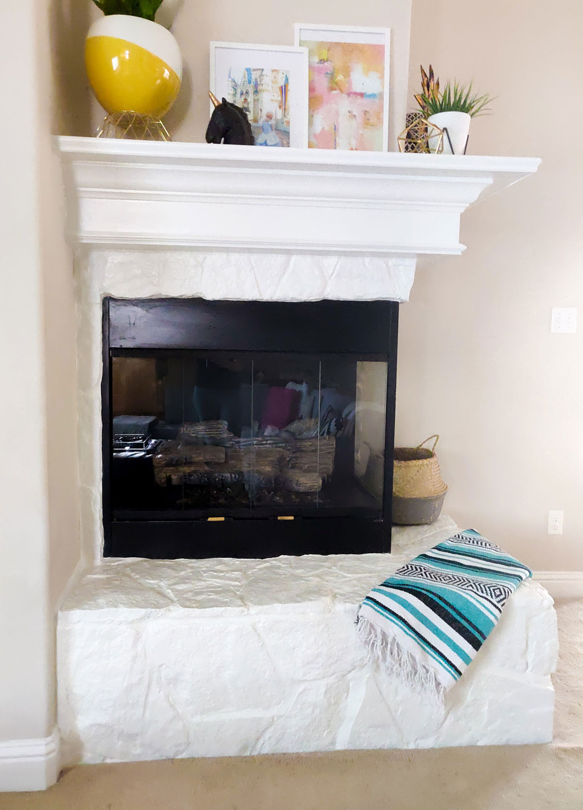 Fireplace Makeover Stone To White Artful Days