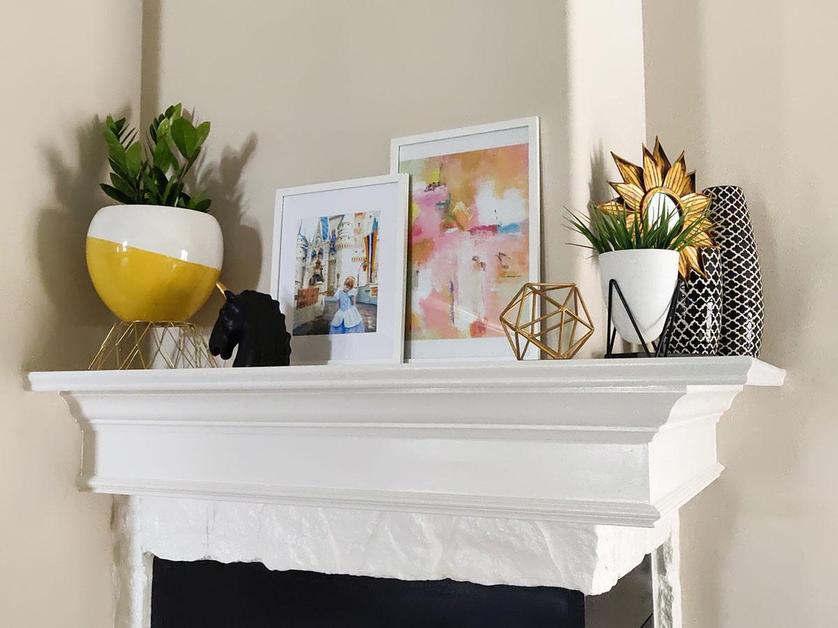 Right corner fireplace mantel decor