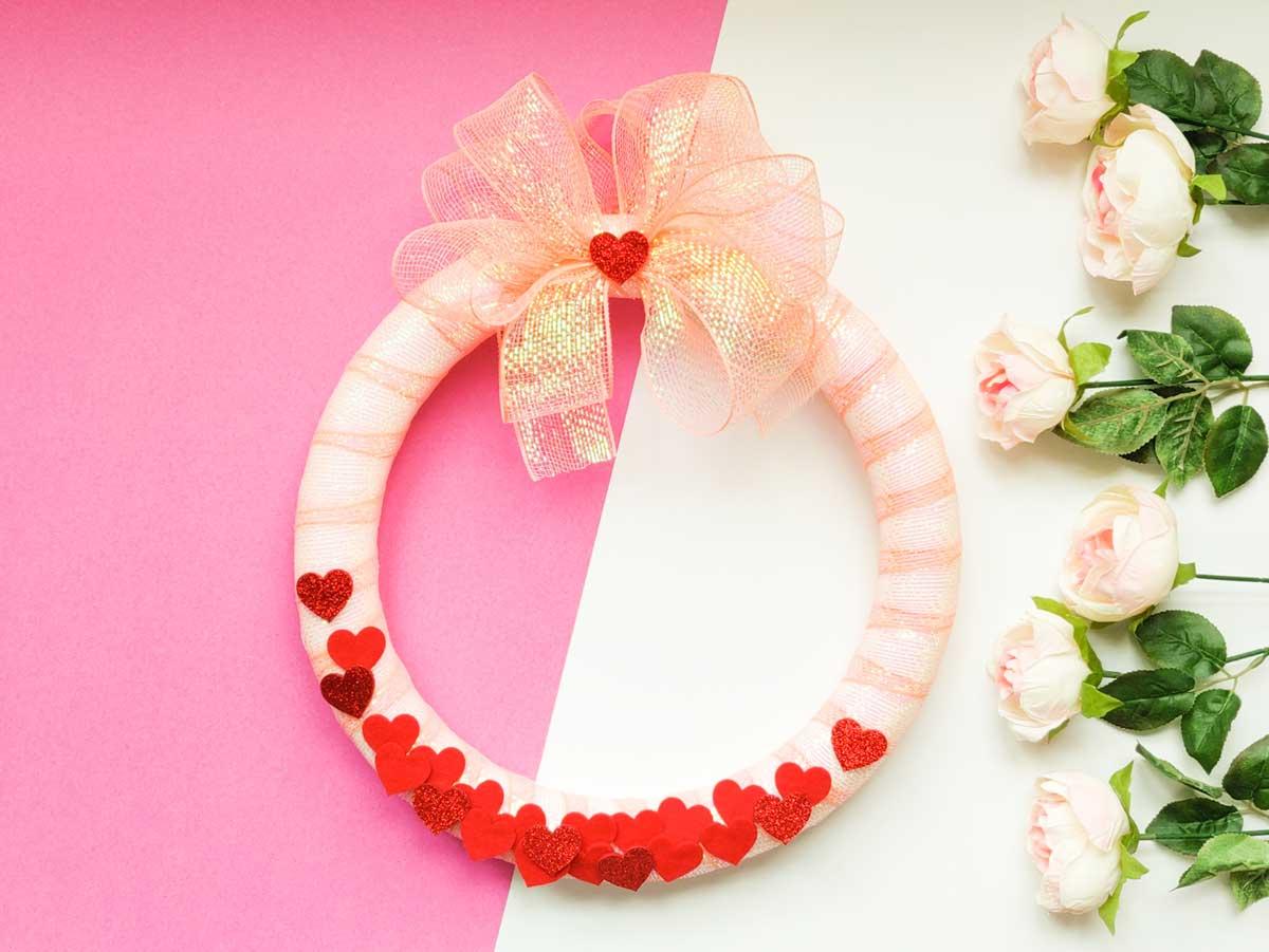 Valentine confetti wreath artfuldays