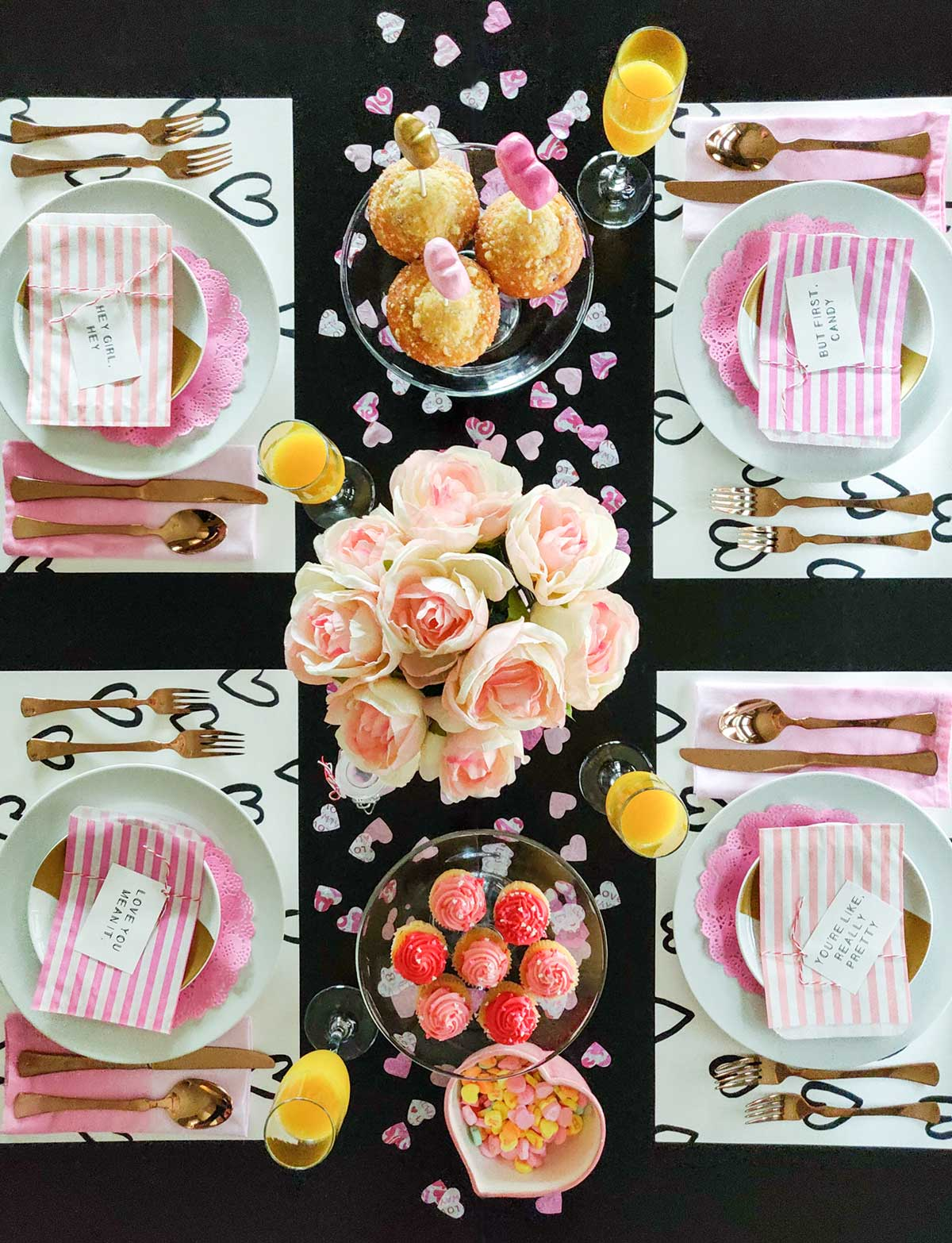 Valentine party tablescape flatlay