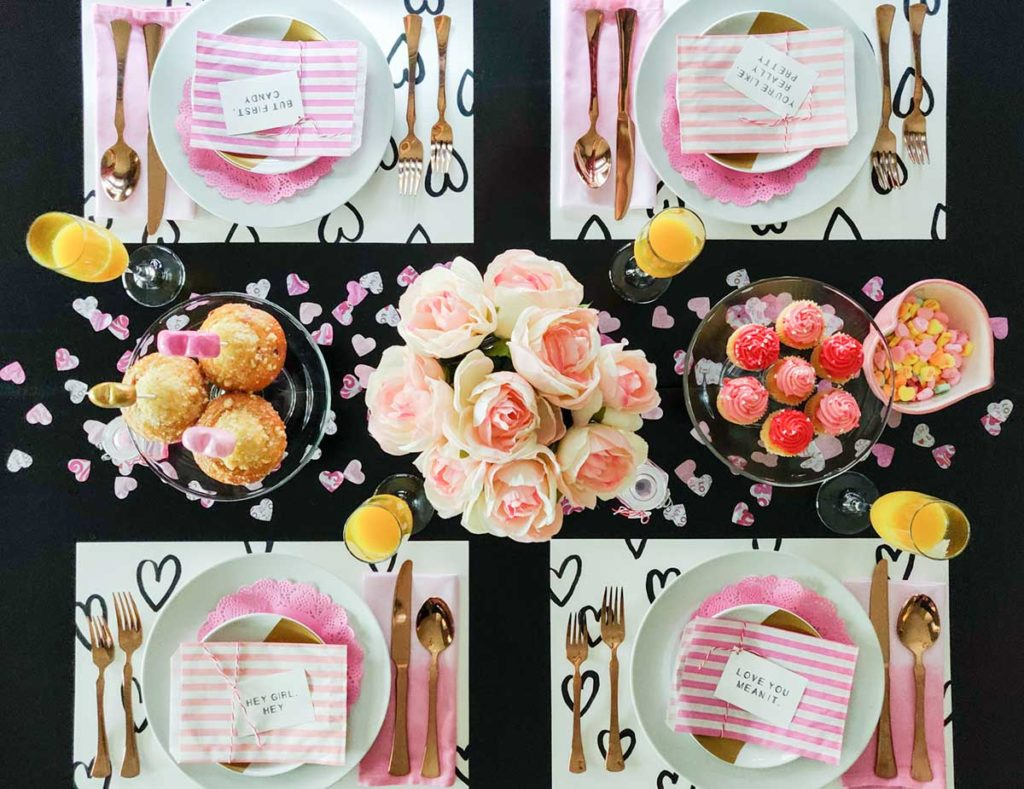Valentine tablescape flatlay idea
