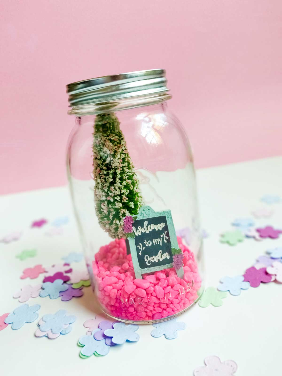 Waterless spring snow globe mason jar