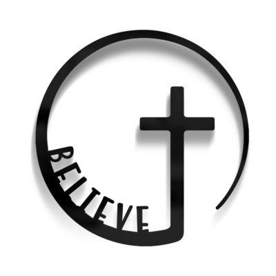 Circle Believe Cross Door Decor
